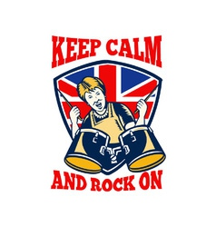 Keep calm rock on british flag queen granny drums vector