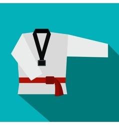 Kimono and martial arts red belt flat icon vector