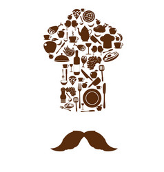 Kitchen tool icons on chef hat with mustache vector