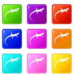Lizard icons 9 set vector