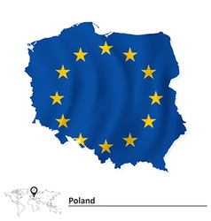 Map of Poland with European Union flag vector image