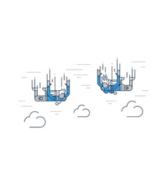 Parachute jumping people in the sky vector