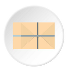 Parcel wrapped in paper and tied with twine icon vector