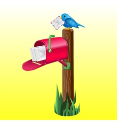 Realistic mailbox and a bird vector