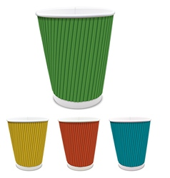 Set of colored paper cups vector