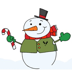 snowman holding a candy cane vector image vector image