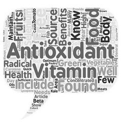 Sources of concentrated antioxidants text vector