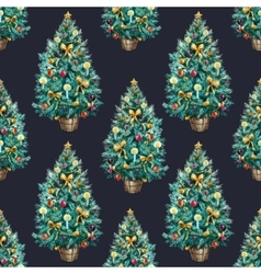 Watercolor christmas tree pattern vector