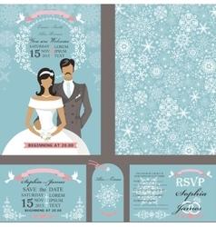 Wedding invitation cardsBridegroomWinter season vector image