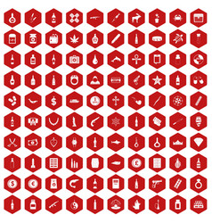 100 smuggling goods icons hexagon red vector