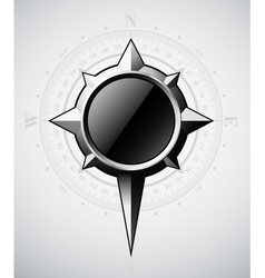 Steel compass rose with scale vector