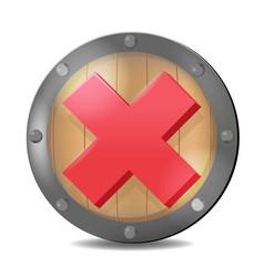 Shield check red mark symbol vector