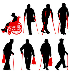 set ilhouette of disabled people on a white vector image