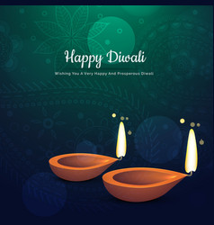 Beautiful diwali festival diya background with vector