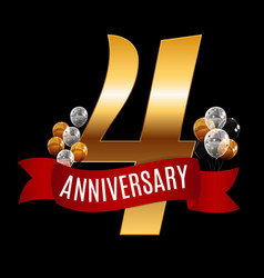 golden 4 years anniversary template with red vector image