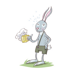 Bunny drinking beer cartoon eps 10 vector