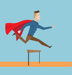 Businessman with red cape running and jumping vector