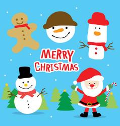 merry christmas santa and snowman cartoon vector image