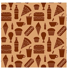 fastfood pattern brown vector image