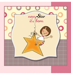 New star its bornwelcome baby card vector
