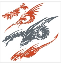 Dragons for tattoo set vector