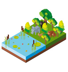 3d design for forest scene with animals vector image vector image
