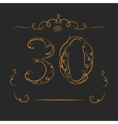 Anniversary 30th signs vector