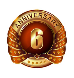 6 years anniversary golden label with ribbon vector