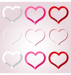 White red and pink valentine hearths border vector