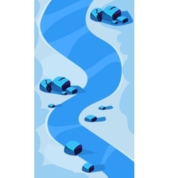 Vertical landscape  river and blue vector