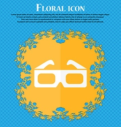 3d glasses icon floral flat design on a blue vector