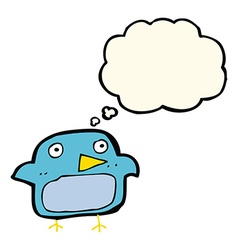 Cartoon bluebird with thought bubble vector