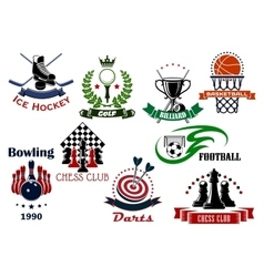 Sport game heraldic icons and symbols vector