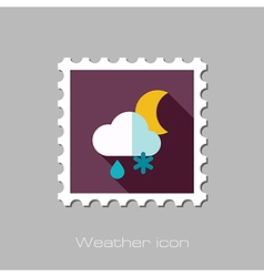 Cloud snow rain moon flat stamp weather vector