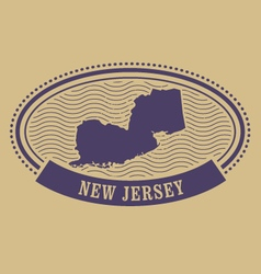 New jersey map silhouette - oval stamp vector