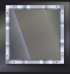 Glass plate with metal frame vector