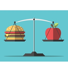 Balance hamburger and apple vector image vector image