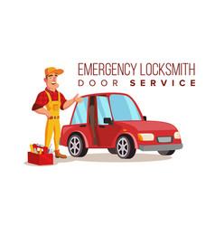 Car locksmith worker service classic vector