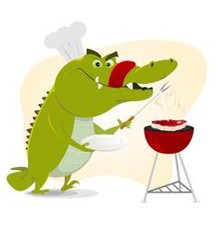 Cartoon crocodile bbq vector