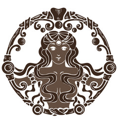 coffee antique vignette with beautiful woman vector image vector image