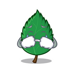 Crying mint leaves mascot cartoon vector