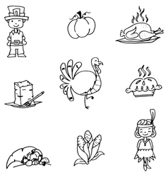 Element thanksgiving in doodle vector