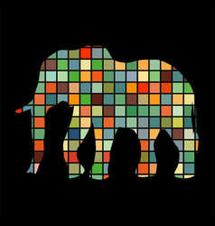Elephant mammal color silhouette animal vector