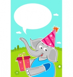 elephant with birthday gift vector image vector image