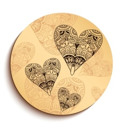 Ethnic wooden plate with hearts isolated on white vector