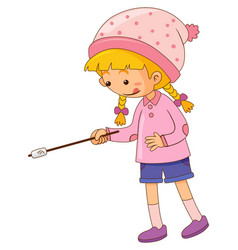 Girl with marshmallow on stick vector