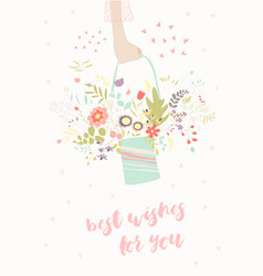 hand holding bouquet flowers vector image vector image