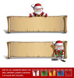 Happy santas papyrus presenting presents set vector