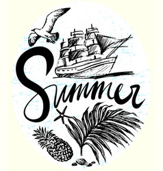 Ink hand drawn summer trip with ship in the deep vector
