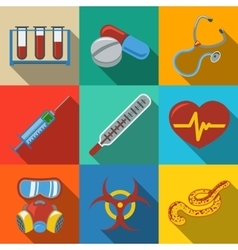 Medicine and health care colorful flat icons set vector